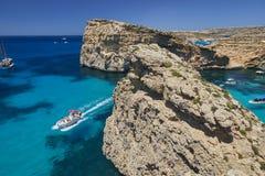 Остров Comino, голубая лагуна - Мальта Стоковые Изображения RF