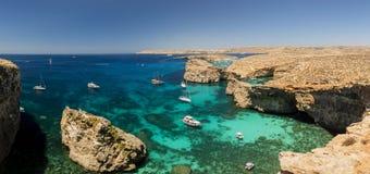 Остров Comino, голубая лагуна - Мальта Стоковые Фото
