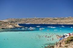Остров Comino, голубая лагуна - Мальта Стоковые Фотографии RF