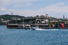 Остров Galatasaray в севере моста Bosphorus в Стамбуле, принятом от европейской стороны стоковое изображение rf