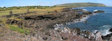 остров hangaroa пасхи около села Стоковые Фотографии RF
