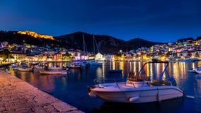 Остров Hvar на ноче Стоковое Фото