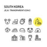 Остров Jeju с линией прозрачным дизайном, Южной Кореей стоковая фотография