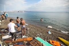 Остров Kos, Греция - европейский кризис беженца Стоковые Фото