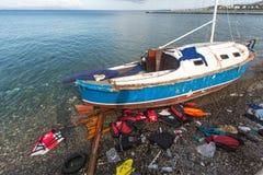 Остров Kos, Греция - европейский кризис беженца Стоковые Изображения RF