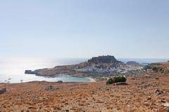 Остров Lindos Родоса, Греция Стоковая Фотография RF