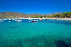 Остров Mediteranian Корсики с соснами, песчаным пляжем, чистой водой tourquise и yach стоковые фотографии rf