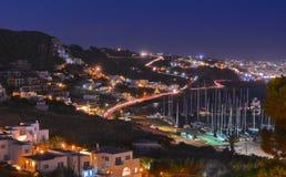 Остров Mykonos к ноча Стоковые Фотографии RF