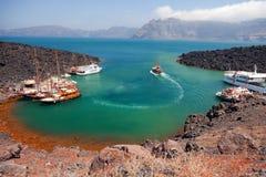 Остров Nea Kameni вулканический, Santorini стоковые изображения