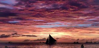 остров philippines boracay ослабляет заход солнца стоковое изображение rf