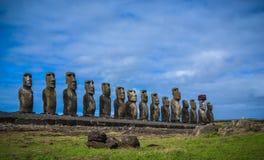 Остров Rano Raraku- пасхи Стоковая Фотография RF