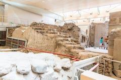 Остров Santorini, Крит, Греция. Руины и археологические раскопки в Fira Стоковая Фотография