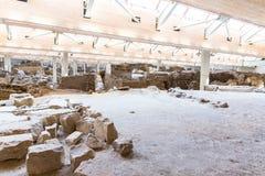 Остров Santorini, Крит, Греция. Руины и археологические раскопки Стоковое фото RF