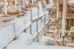 Остров Santorini, Крит, Греция. Руины и археологические раскопки Стоковые Фото