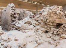 Остров Santorini, Крит, Греция. Руины и археологические раскопки Стоковое Изображение