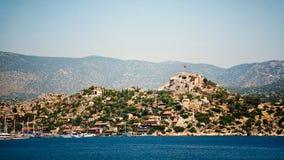 Остров Simena с старым фортом, Kekova Стоковые Изображения