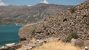 Остров Spinalonga в ориентир ориентире Крита Греции акции видеоматериалы