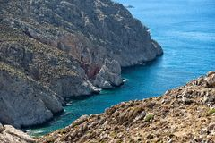 Остров Tilos, Греция, панорамный взгляд острова Tilos Стоковые Фотографии RF