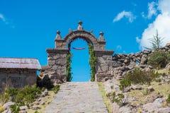 Остров Titicaca Taquile на Puno Перу Стоковые Изображения RF