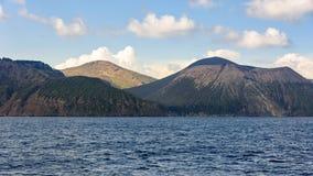 Остров Vulcano увиденный от моря Стоковая Фотография RF