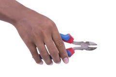 Острозубцы владением руки на белой предпосылке Стоковые Фото