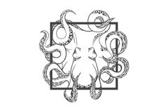 Осьминог внутри глубоко Шаблон для логотипа, ярлыка и эмблемы Стоковое Изображение RF