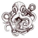 Осьминог держа анкер бесплатная иллюстрация