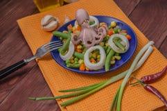 Осьминог и кальмар звенят на свежих овощах голубая плита деревянная предпосылка Взгляд сверху Конец-вверх Стоковое Фото