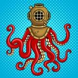 Осьминог и старый вектор искусства шипучки шлема водолаза Стоковая Фотография