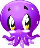 Осьминог - милое собрание мультфильма морской жизни под характерами воды животными иллюстрация штока
