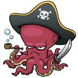 Осьминог пирата шаржа Стоковая Фотография