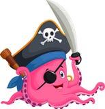 Осьминог пирата шаржа Стоковые Фото