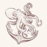 Осьминог с анкером Сделайте эскиз к морю kraken анкер корабля удерживания кальмара Дизайн вектора татуировки военно-морского флот иллюстрация штока