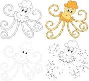 Осьминог шаржа также вектор иллюстрации притяжки corel Точка для того чтобы поставить точки игра для детей Стоковые Фото