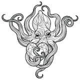 Осьминог Zentangle Стоковая Фотография