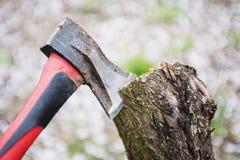 Ось во пне Ось в древесине Ось заклиненная в пень дерева Сохраните концепцию леса экологическую стоковые фото