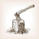 Ось в векторе стиля эскиза пня нарисованном рукой Стоковые Изображения