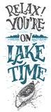 Ослабьте вас на знаке оформления cabine времени озера Стоковое Изображение RF