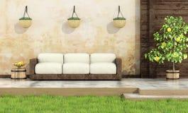 Ослабьте в деревенском саде иллюстрация штока