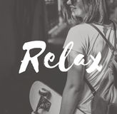 Ослабьте концепцию здоровья каникул спокойной chill жизни отдыхая Стоковые Изображения