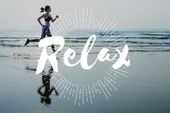 Ослабьте концепцию каникул спокойного chill счастья отдыхая Стоковое фото RF