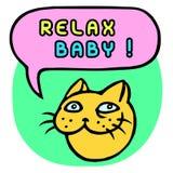 Ослабьте младенца! Голова кота шаржа речи персоны пузыря вектор графической говоря также вектор иллюстрации притяжки corel Стоковые Изображения RF