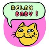 Ослабьте младенца! Голова кота шаржа речи персоны пузыря вектор графической говоря также вектор иллюстрации притяжки corel Стоковая Фотография