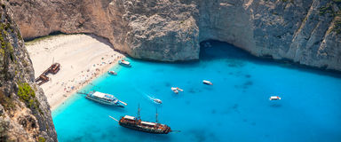 Пляж Navagio, остров Zakinthos, Греция Стоковые Фото