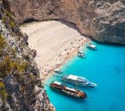Пляж Navagio, остров Zakinthos, Греция Стоковое Изображение RF