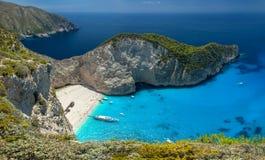 Пляж Navagio, остров Zakinthos, Греция Стоковые Изображения RF