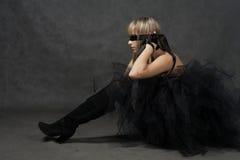 Ослепленный ждать девушки. Она weared черная балетная пачка Стоковая Фотография