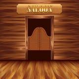 Отбрасывая двери салона, западной предпосылки иллюстрация вектора