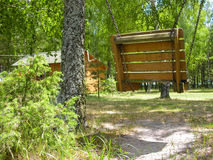 Отбросьте на цепи на солнечной лужайке Стоковое Фото