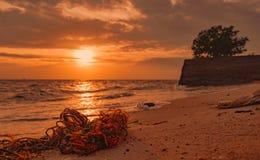 Отброс на пляже Прибрежное загрязнение окружающей среды Морские проблемы окружающей среды Старая веревочка на пляже песка на врем Стоковые Изображения